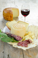 pecorino sardo cheese,carasau bread and sausage from Sardinia