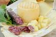 pecorino sardo cheese,carasau bread and sausage from Sardinia