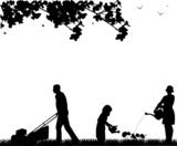Family activities in garden silhouette