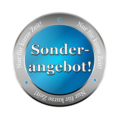 sonderangebot blue metallic button, icon