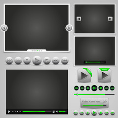 player web elements, green design, hugh set