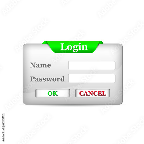login button with green sign