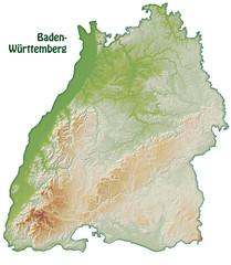 Baden-Württemberg mit Schummerung