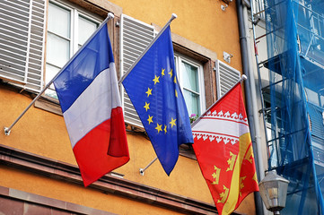 flags of France, EU and Alsace