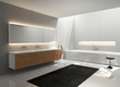 Grey white, wood sink, modern elegant luxury bathroom,