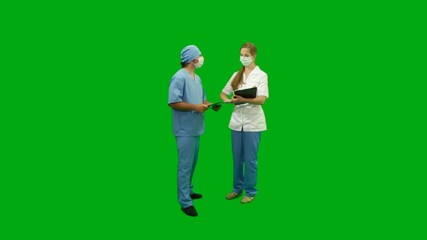 Doctors consulting, green screen.
