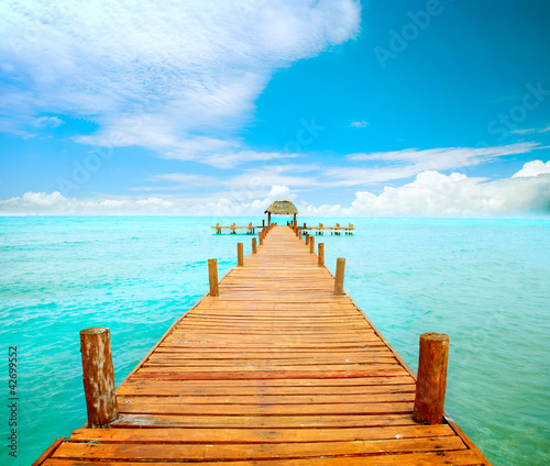 Vacations And Tourism Concept. Jetty on Isla Mujeres, Mexico - 42699552