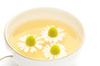 Chamomile tea on white background