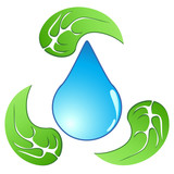 recycling water drop with leaf
