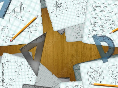 school math calculations on a wooden desk illustration