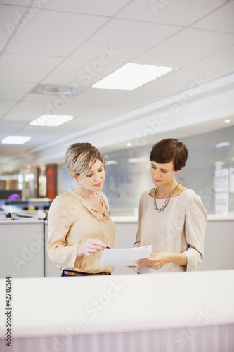 Businesswomen reviewing paperwork in office