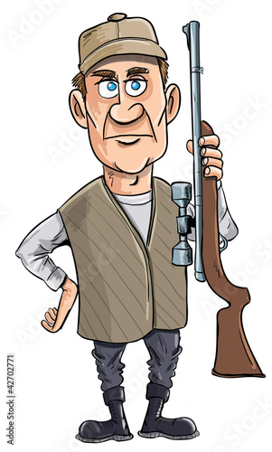Cartoon hunter holding his gun. Isolated