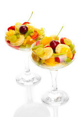 Fresh fruits salad isolated on white
