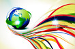 Printabstract colorful wave background with globe
