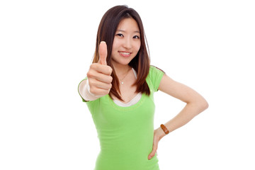 Young pretty woman showing thumb.
