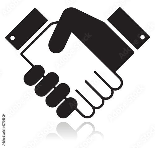 Handshake glossy black icon