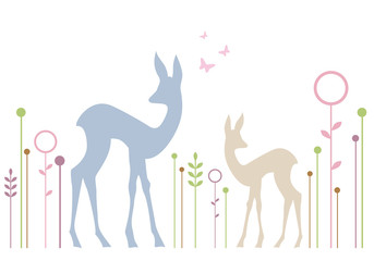 cute deers with floral background, vector