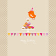 Flying Orange Bird 10 Cupcakes Bunting Beige Dots