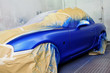 Newly painted blue car.