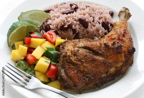 jerk chicken plate, jamaican food
