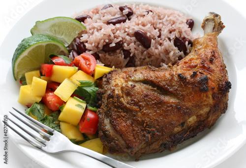jerk chicken plate, jamaican food - 42709150