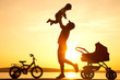 happy father with child  on sunset