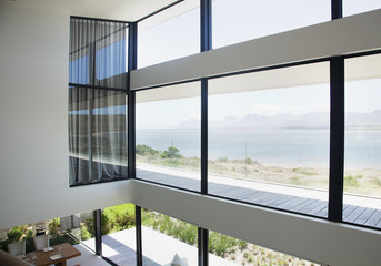 View of lake from loft of modern house