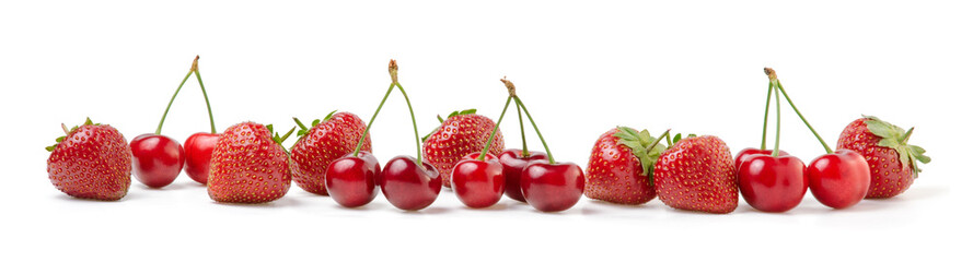 Fresh Cherries and Strawberries on White Background