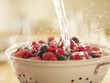 Water splashing over berries in colander