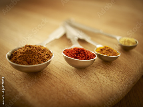 Close up of spices in measuring spoons