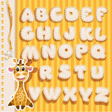Baby alphabet with lace and ribbons, yellow version
