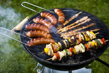 Barbecue a hot summer evening, Grilling