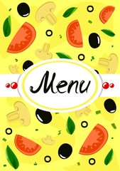 Menu on yellow background with vegetables.