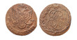 Coin of imperial Russia. 5 cents in 1784. Minting of Catherine I