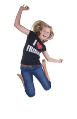 Springendes, hübsches Mädchen
