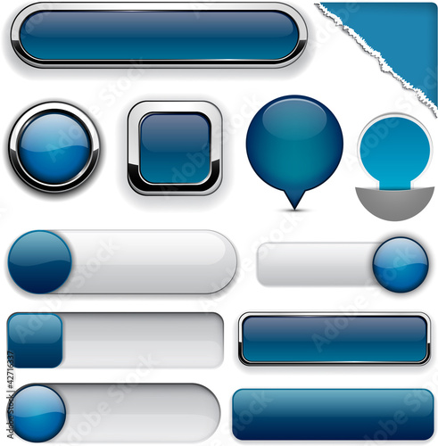 Dark-blue high-detailed modern buttons.