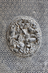 Chinese classic brick wall with dragon detail