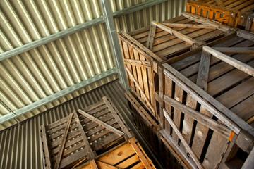 Entrepôt, caisse, emballage, industrie, hangar, bois