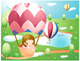 Representation of girl in hot air balloon