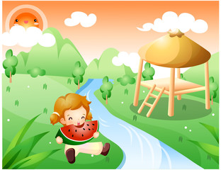 Representation of girl eating watermelon by river