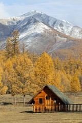 Wooden hut at Altai Mountains foothills,