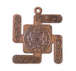 Copper medallion buddhist swastika on white background
