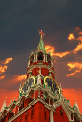 Tower of Kremlin on the sunset background