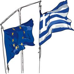 Fahnen EU und Griechenland