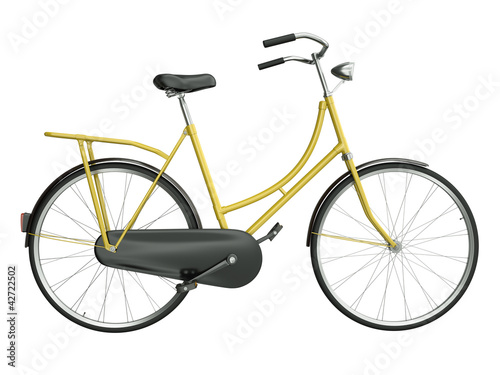 Yellow bicycle, 3D render