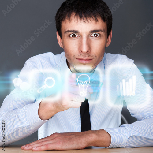 Business man working with his modern computer