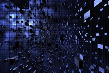 Blue cubic space