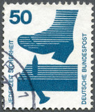 GERMANY - 1973: Nail sticking from board, Accident Prevention poster