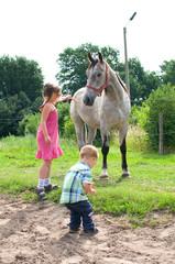 Kinder auf dem Bauernhof