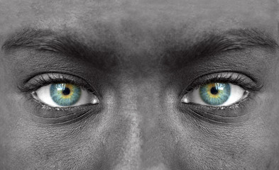 Blue human eyes closeup